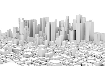 3D-panorama van de stad op een witte achtergrond