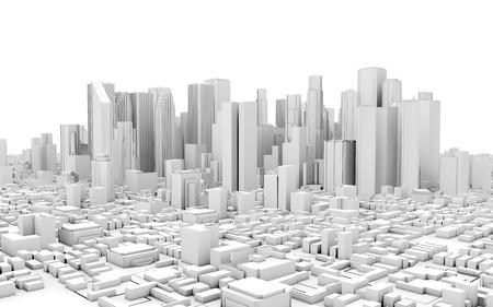 3D-Stadtpanorama isoliert auf weißem Hintergrund Lizenzfreie Bilder