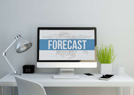 modern clean workspace mockup with forecast predictionon screen. 3D illustration. all screen graphics are made up. Stock Photo