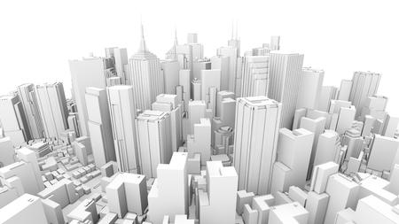 3d rendering of white rounded skyline Reklamní fotografie