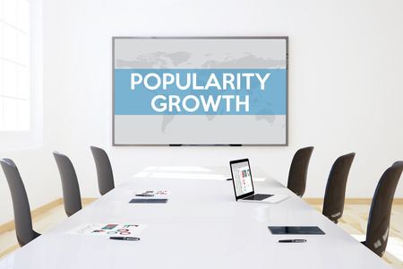 popularity: 3d rendering of business meeting room with big screen showing popularity growth concept