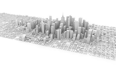 3D-weergave van wit zakelijke downtown geïsoleerd Stockfoto