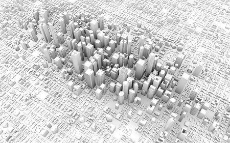 city view: 3d top view of business city downtown Stock Photo