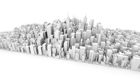 city view: 3d city downtown view isolated on white background
