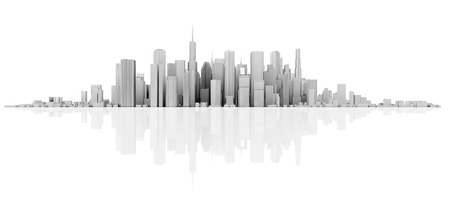 3d white skyline isolated on white with floor reflection Banco de Imagens - 57641980
