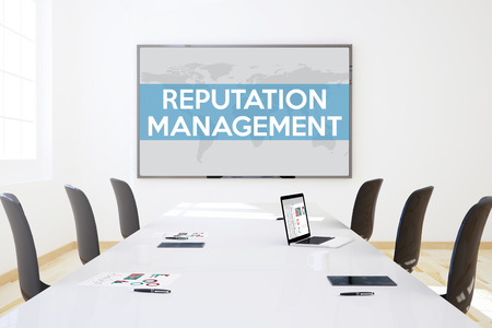 prominence: 3d rendering of business meeting room with big screen showing reputation management concept