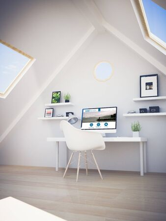 web screen: web design studio on the attic. All screen graphics are made up. 3d rendering. Stock Photo