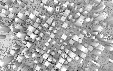 ashy: 3d rendering of a business downtown top view Stock Photo