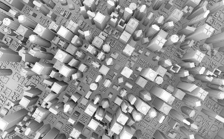 ashy: 3d rendering of a top view city Stock Photo