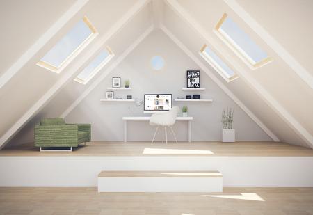 studio de design au penthouse avec blog sur écran d'ordinateur. Tous les graphiques d'écran sont constitués. Rendu 3D