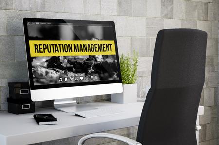 3D-weergave van de industriële workspace tonen reputatiemanagement op het computerscherm. Alle screen graphics zijn opgebouwd.