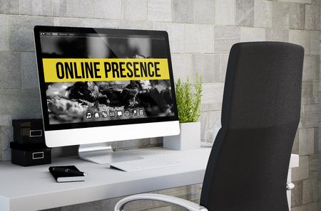 3D-weergave van de industriële werkruimte zien online aanwezigheid op het computerscherm. Alle screen graphics zijn opgebouwd.