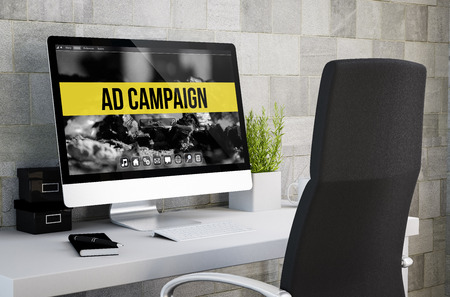 3d? Wiadczenia przemys? Owego obszaru roboczego pokazano kampanii reklamowej na ekranie komputera. Wszystkie grafiki ekranu są tworzone. Zdjęcie Seryjne