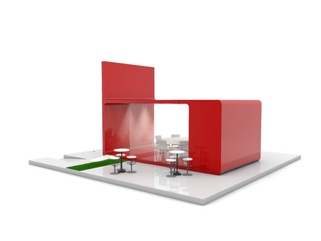 display stand: red exhibition stand 3d rendering