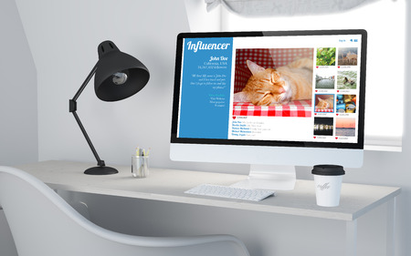 website: 3d rendering of a desktop workplace with computer showing influencer website. All screen graphics are made up.