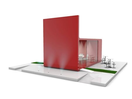 display: red exhibition stand 3d Rendering