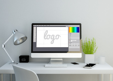 modern clean workspace mockup with graphic design software on screen. 3D illustration. all screen graphics are made up.