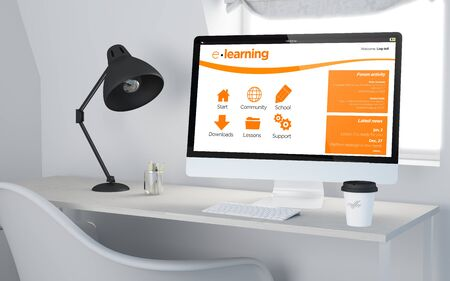 3d rendering of a desktop workplace with computer elearning online website. All screen graphics are made up.