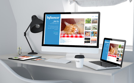 influencer: 3d rendering of workroom with responsive devices showing  influencer social media profile on screen. All screen graphics are made up.
