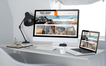 3D-Rendering von Werkraum mit ansprechenden Geräten Reisebüro auf dem Bildschirm zeigt. Alle Bildschirmgrafiken bestehen.