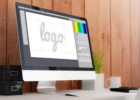graficas: espacio de trabajo de madera moderna con ordenador que muestra el software de diseño gráfico. Todos los gráficos de la pantalla se componen. Ilustración 3D. Foto de archivo