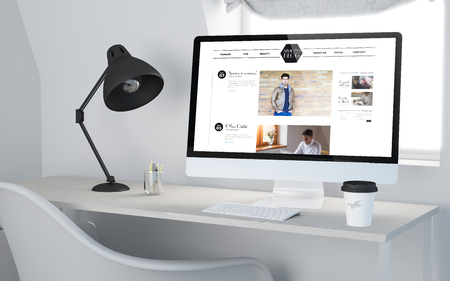influencer: 3d rendering of a desktop workplace with computer showing fashion influencer website. All screen graphics are made up.