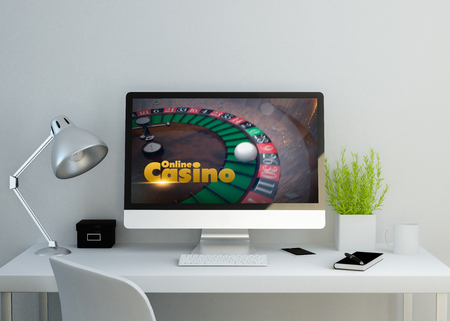 artistic addiction: modern clean workspace mockup with online casino website on screen. 3D illustration. all screen graphics are made up.