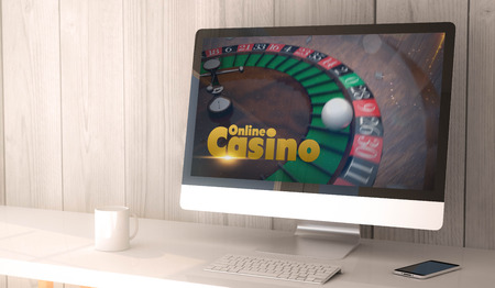 desktop computers: digital render generated workspace with online casino on the screen of computer and smartphone. All screen graphics are made up. Stock Photo