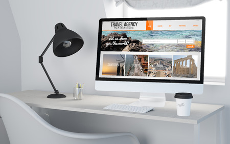 3d rendering of a desktop workplace with computer travel agency online website. All screen graphics are made up.