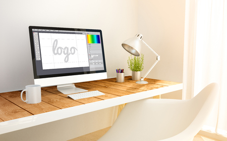 3d generated minimalist workspace with graphic design software computer screen computer and copyspace. 3d illustration. all screen graphics are made up. Stockfoto