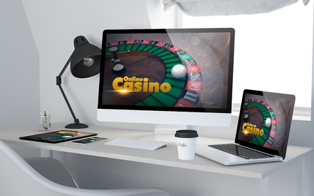 business game: 3d rendering of workroom with devices showing online casino on screen. All screen graphics are made up.