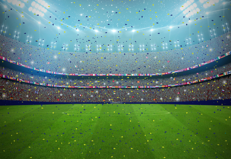 Soccer stadium in the night with fans in a match.