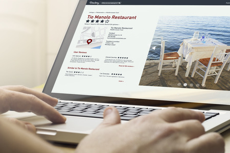 book reviews: online business concept: man using a laptop with online directory on the screen. Screen graphics are made up.