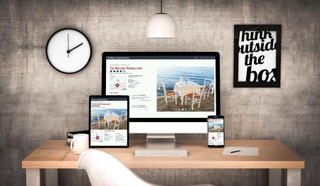 gegenereerde digitale werkplek desktop met digitale tablet, computer, laptop en diverse office-objecten online directory website op het scherm.