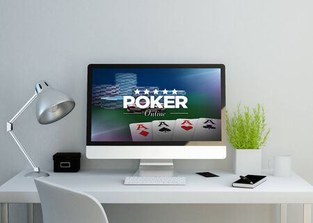 artistic addiction: modern clean workspace mockup with poker online website on screen. 3D illustration. Stock Photo