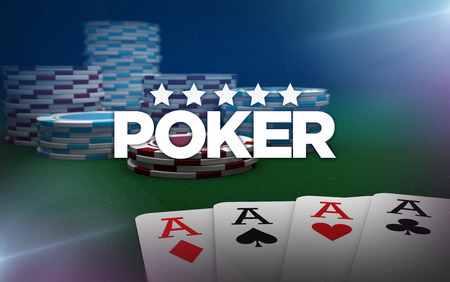 poker aces and chips on poker table. 3d rendering.