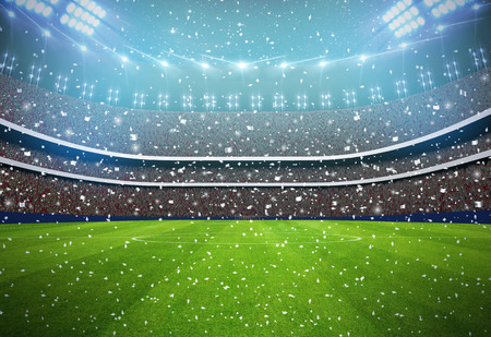 Soccer stadium in the night with white colour team. Stock Photo
