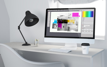 software design: 3d rendering of a desktop workplace with computer showing graphic design software.