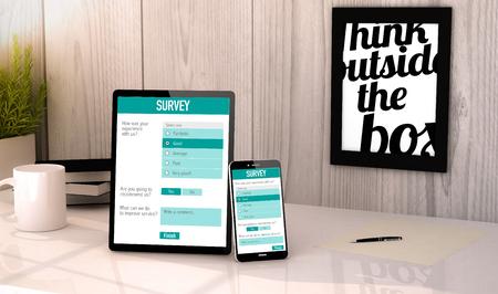 satisfaction: Online customer satisfaction survey on tablet and smartphone.