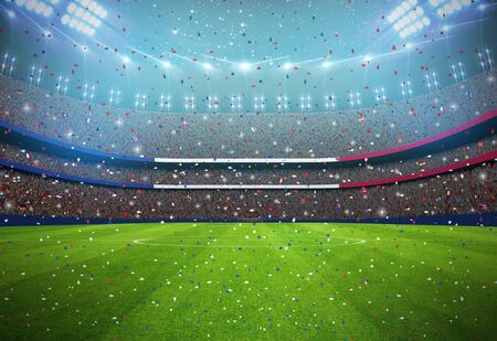 Soccer stadium in the night Stock Photo
