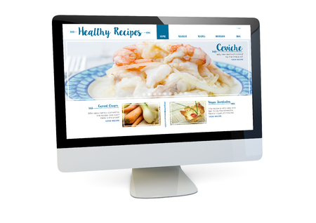 commerce and industry: modern healthy recipes online website concept: render of a computer with online marketing on the screen isolated. 3d rendering.
