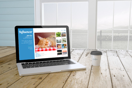 influencer: laptop with coffee showing influencer social media profile website on screen near the window. 3d Rendering.