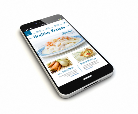 render of an original smartphone with online recipes blog on the screen. Stock fotó