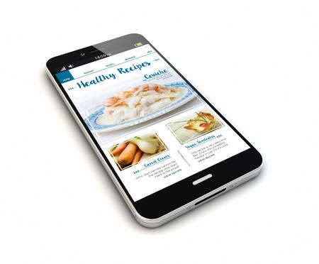 weergave van een originele smartphone met blog over online recepten op het scherm. Stockfoto