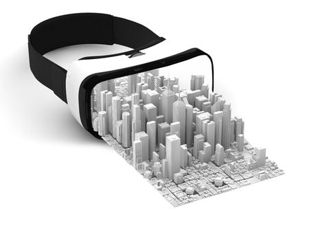 Las 3D de gafas de realidad virtual aislado en blanco con el blanco de la ciudad de negocios se salga Foto de archivo