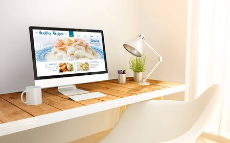 display: 3d generated minimalist workspace with healthy recipes blog screen computer and copyspace. 3d illustration. Stock Photo
