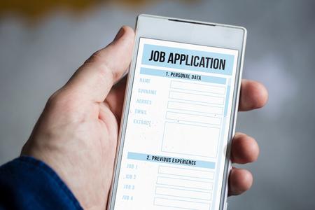 man hand holding job application smartphone.
