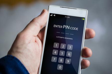pin code: man hand holding pin code smartphone.