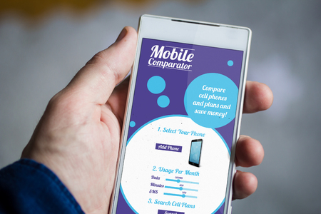 comparator: man hand holding plan comparator smartphone.