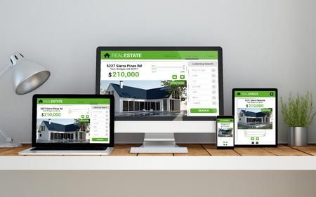 Een computer, laptop, smartphone en tablet op een desktop werkruimte met vastgoed online responsieve website op het scherm. 3d Illustratie.
